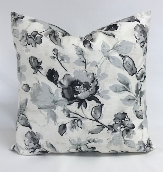 Pillow Cover Floral Black Floral Pillow Black White Etsy
