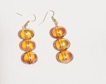 Earrings, beaded earrings, orange glass earrings, orange jewelry, earring set, Backwoods Beauty Shop, Christmas gifts, fall jewelry