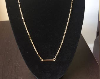 Horizontal bar necklace, gold bar necklace, 18k gold plated horizontal bar necklace, bar necklace, simple ID bar necklace