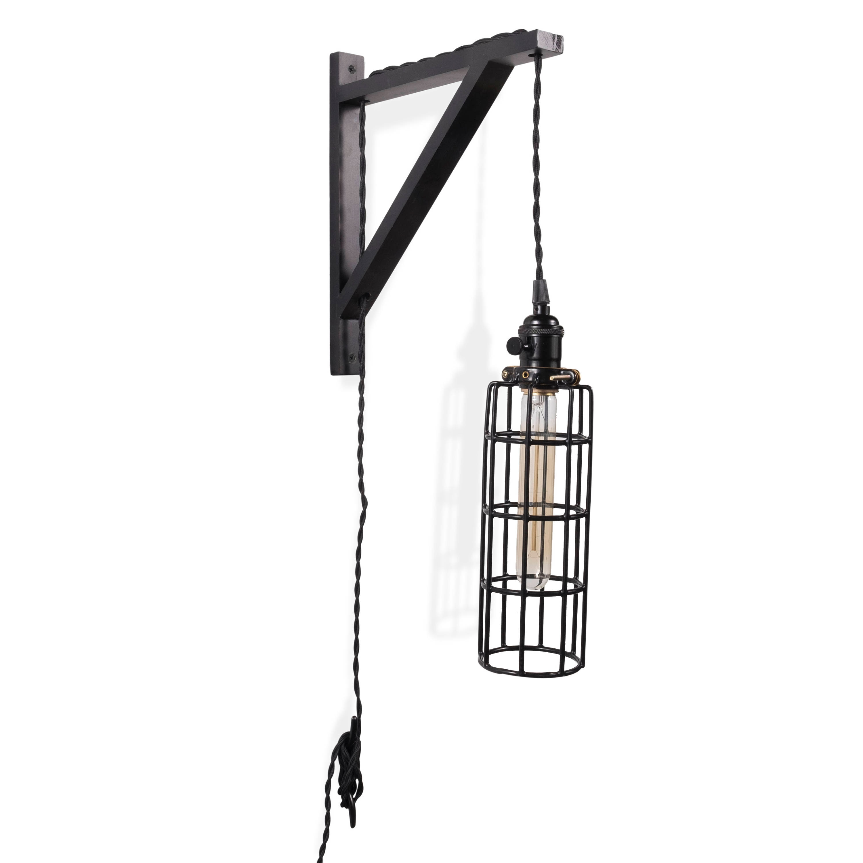 Industrial Wall Sconce With Wood Bracket Vintage Cage Lamp