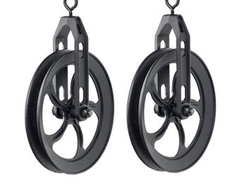 Industrial Look Wheel Farm Pulley by Rustic State for DIY Projects for Pendant Lamps Set of 2, Frosty Black