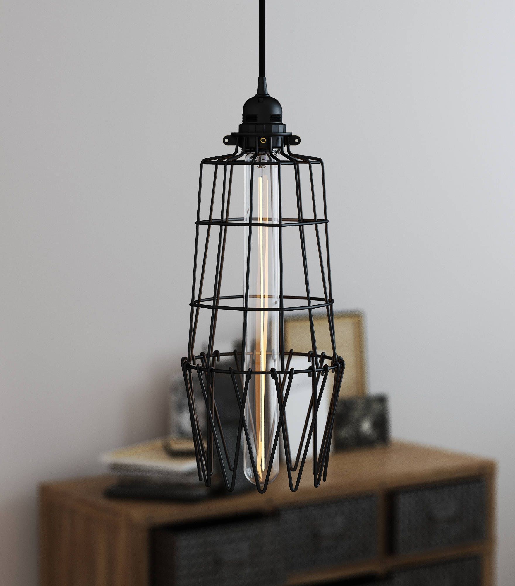 Pendant Lighting Industrial Style Long Tower Cage For