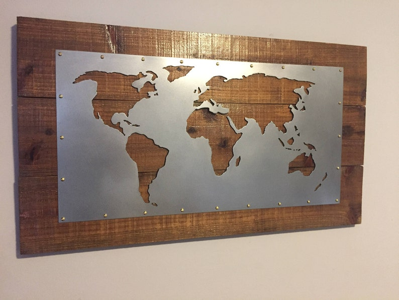 World Map plasma cut metal wall art / sign ( Shipping Included)
