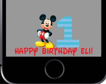 Mickey 1st Birthday With Party Hat Snapchat Geofilter Disney Mouse Decorations For Boy Or Girl