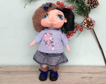 Doll textile, fabric doll, textile doll, collectible doll, cloth doll, interior toys, doll tilda, art removable cloth doll, rag doll, OOAK