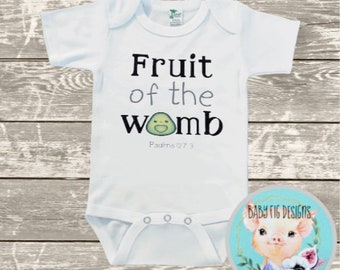 Fruit of the womb shirt Baby Clothes Gift for Toddler Boy or Girl Infant Bodysuit Bible verse shirt Cute Avocado Shirt