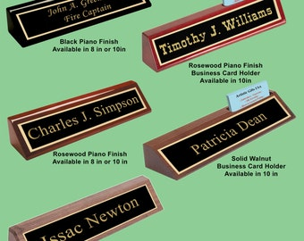 Engraved desk wedge etsy personalized custom desk name plate wedges black glossy rosewood glossy and solid walnut available in 8 or 10 inches colourmoves