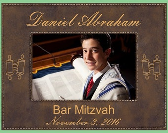 Choose From 9 Frame Colors /& 2 Frame Sizes. Personalized Bar Mitzvah Gift Custom Engraved In Hebrew And English Faux Leather Picture Frame