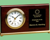 Personalized Custom Engraved 7 1 2 quot x 4 quot Rosewood Piano Finish Horizontal Desk Clock.