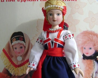 Vladimir Province Russia N42 Porcelain doll handmade in national costume