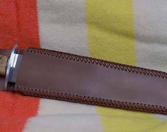 "12"" Arkansas Toothpick with lilac and walnut hilt"