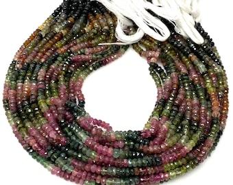 "Natural Watermelon Multi Tourmaline Beads, Bulk Wholesale Gemstone Beads, Faceted Tourmaline Beads, 4.5mm - 5mm, 13.5"" Strand"