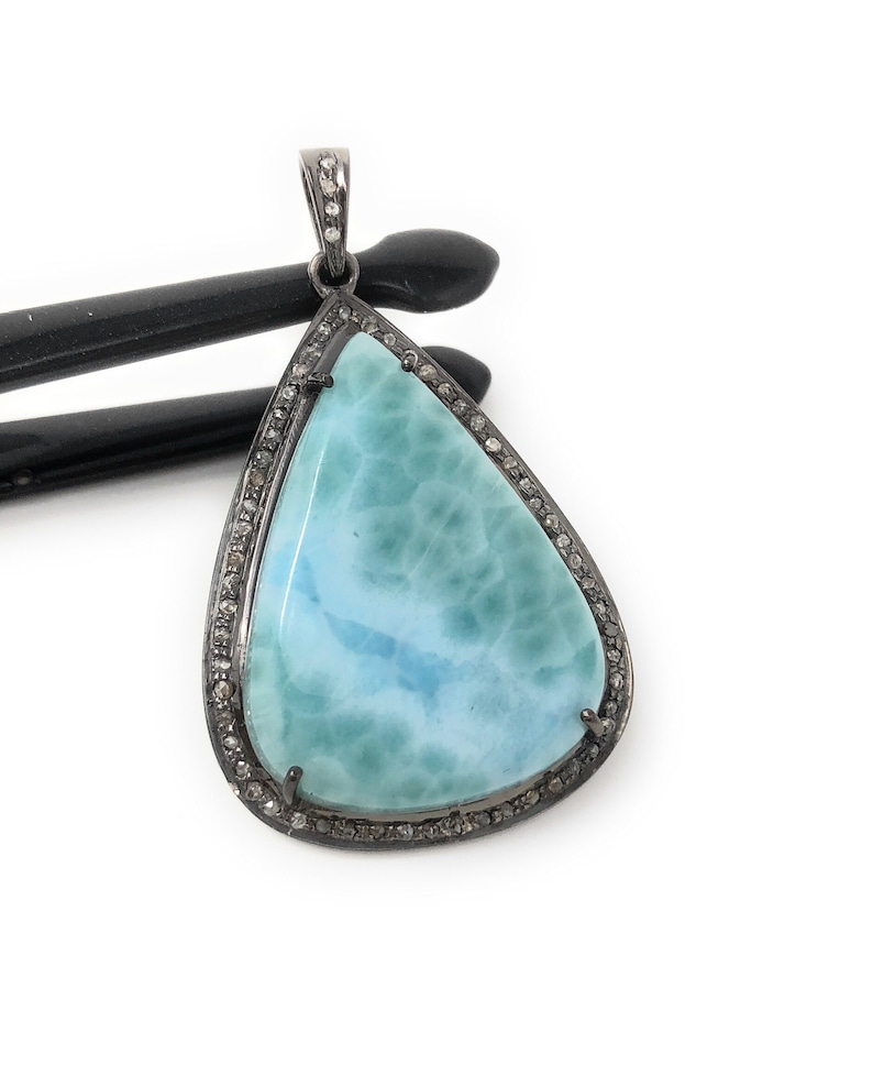 Natural Gemstone Sky Onxy Cabochon Pendant Jewelry Top Quality 50 Carats