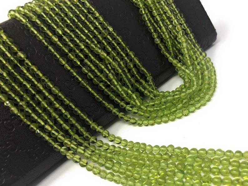 13.75 Strand Natural Peridot Smooth Gemstone Beads Bulk Beads for Jewelry Making Genuine Gemstone Wholesale Beads 4mm Beads