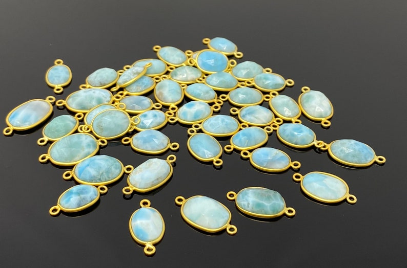 10 Pcs  Larimar Connectors Gemstone Connectors DIY Jewelry Making Bulk Wholesale Jewelry Supplies 14K Gold Plated over Sterling Silver