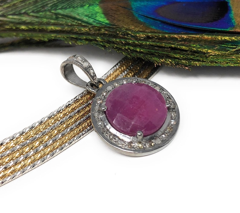 Sterling Silver Pink Sapphire Diamond Pendant Gemstone Pendant Gifts for Her Natural Sapphire Gemstone Jewelry Pave Diamond Pendant