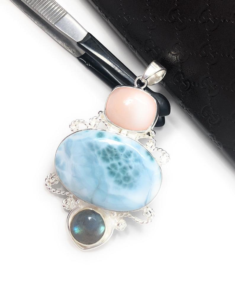 Silver Jewelry Gifts for Her Labradorite Pendant Gemstone Pendant Larimar Pendant Rose Quartz Pendant