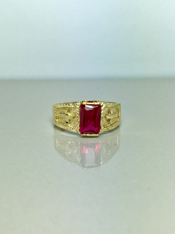 14k Solid Gold Baby Rings - Gold Ruby Rings - Gold