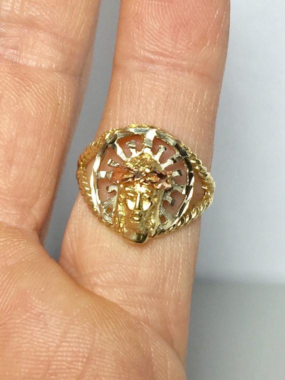 14k Solid Gold Jesus Ring - Jesus Pinky Ring - Tri