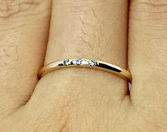 14k 10k Gold Baby Diamond - Past Present Future Rings - Gold Engagement Rings - Stacking Ring - Gold Friendship Rings - Promise Rings