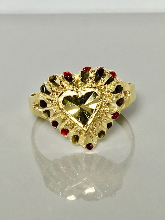 9245f42bbb7f1 10k solid gold womens ring/ multi stones gold ring/ large size gold heart  ring/ vintage design gold ring/ fashion statement gold ring/ gift