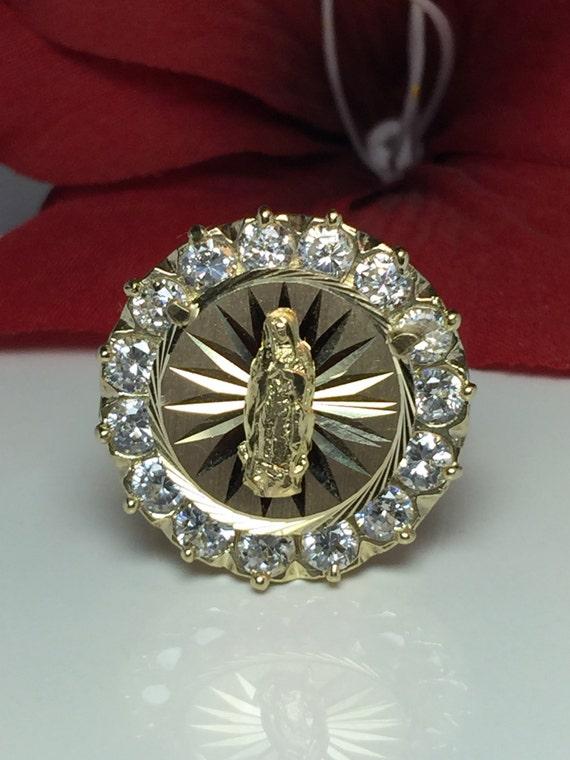 8a0321bd13e69 New HUGE Vintage Virgin Mary 10k solid gold ring