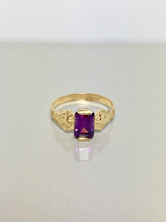 14k Solid Gold Baby Ring - Amethyst Rings - Gold C