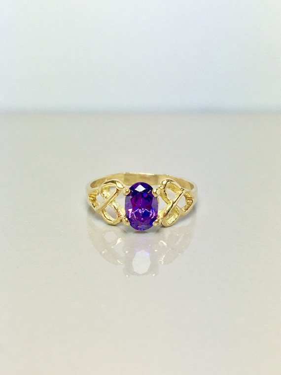 14k Solid Gold Baby Rings - Amethyst Rings - Gold