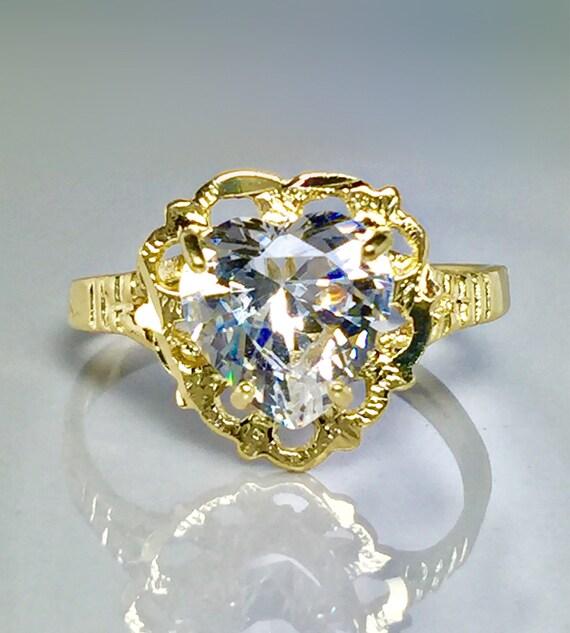 14k solid gold ladies hart rings - 14k gold promis