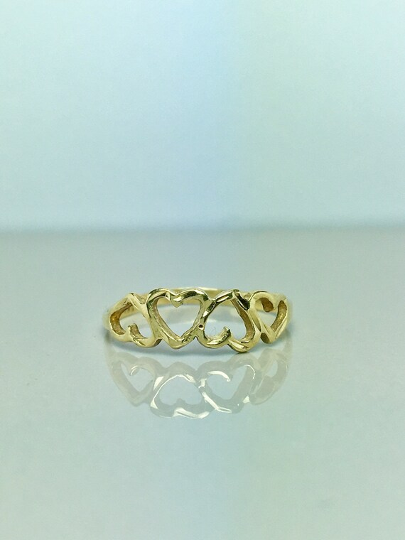 10k Solid Gold Baby Rings - Gold Heart Rings - Gol