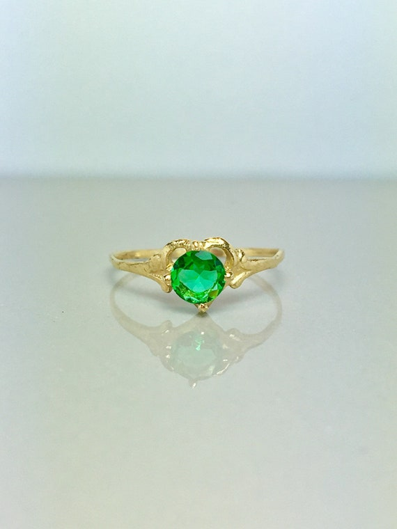 14k Solid Gold Baby Rings - Gold Emerald Rings - G