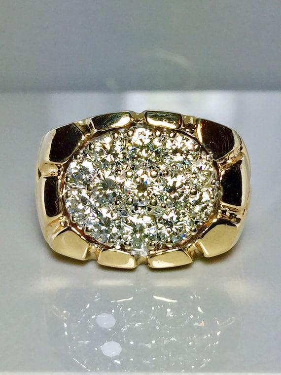BIG 14k Gold Men's Nugget Diamond Ring - Cool Gold