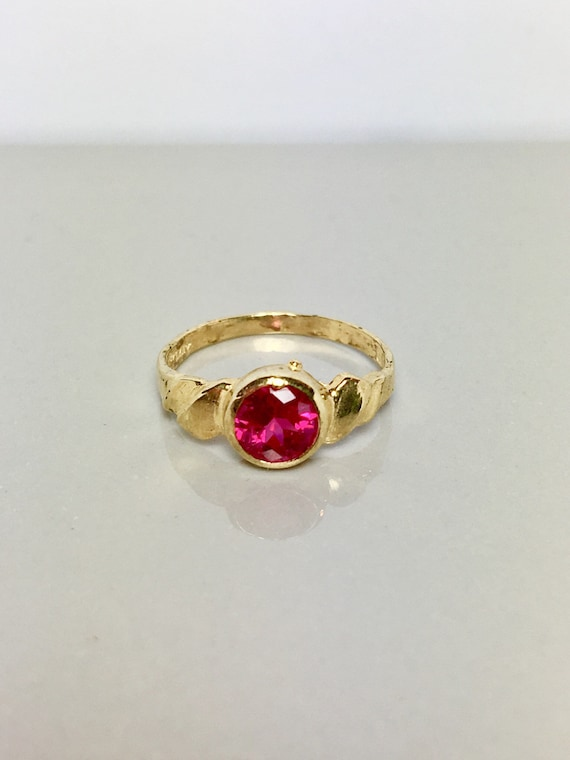 14k solid gold Baby rings - Ruby rings - gold Baby