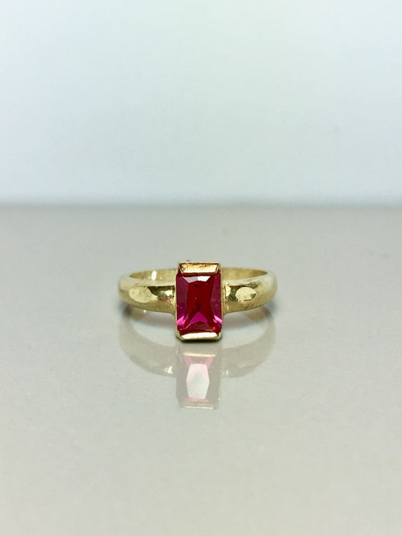 10k Solid Gold Baby Rings - Ruby Rings - Gold Pink