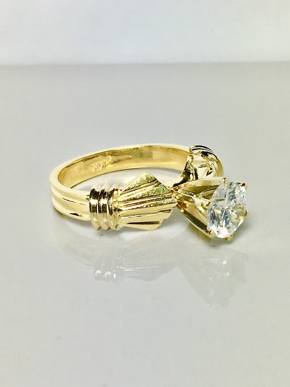 14k solid gold ring/ solitaire design gold ring/ … - image 2