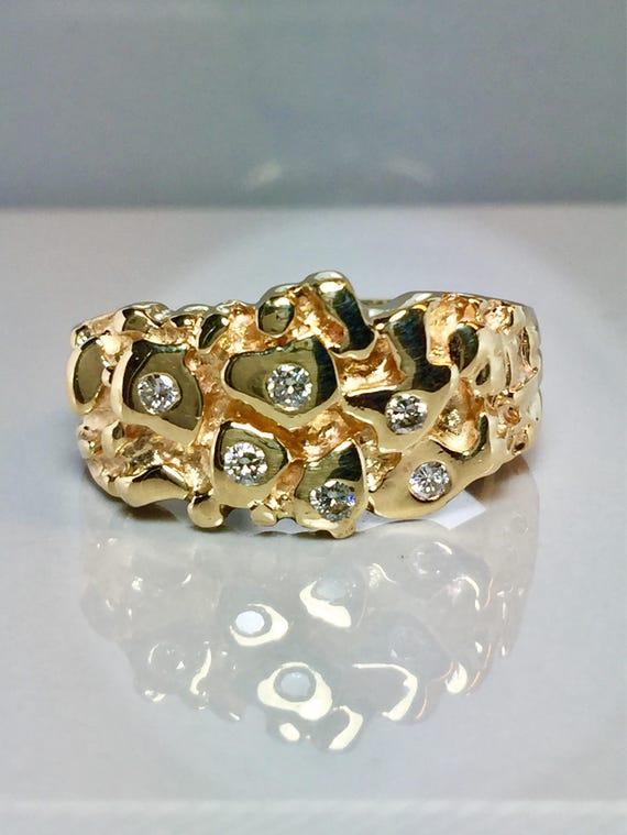 Vintage 14k Solid Gold Men S Diamond Nugget Rings Men Etsy