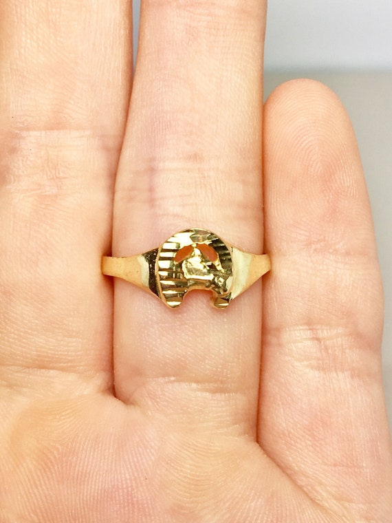 14k Solid Gold Baby Rings - Gold Horse Rings - Gol