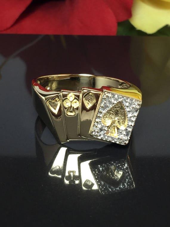 10k Real Gold Poker Ring - Royal Flush Ring - Cool