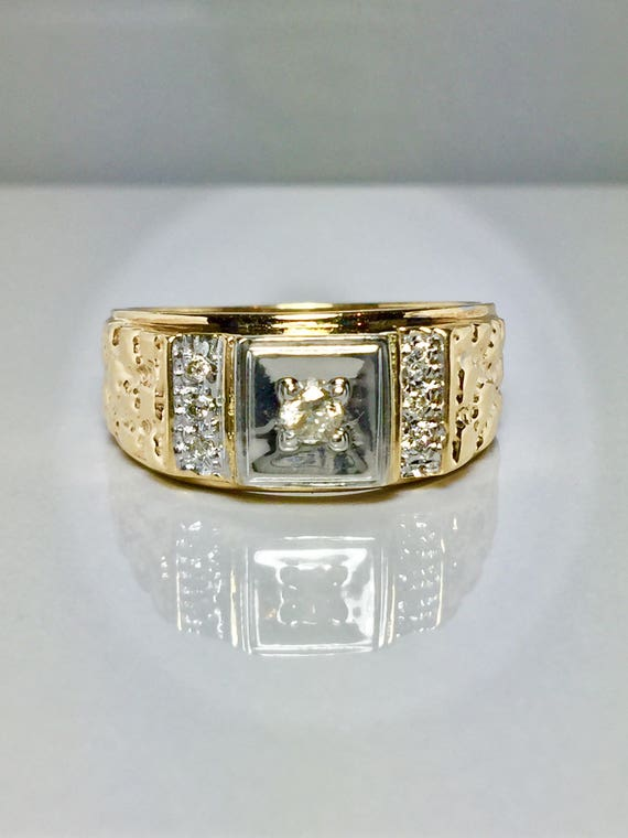 10k Solid Gold Men's Nugget Diamond Rings - Gold R
