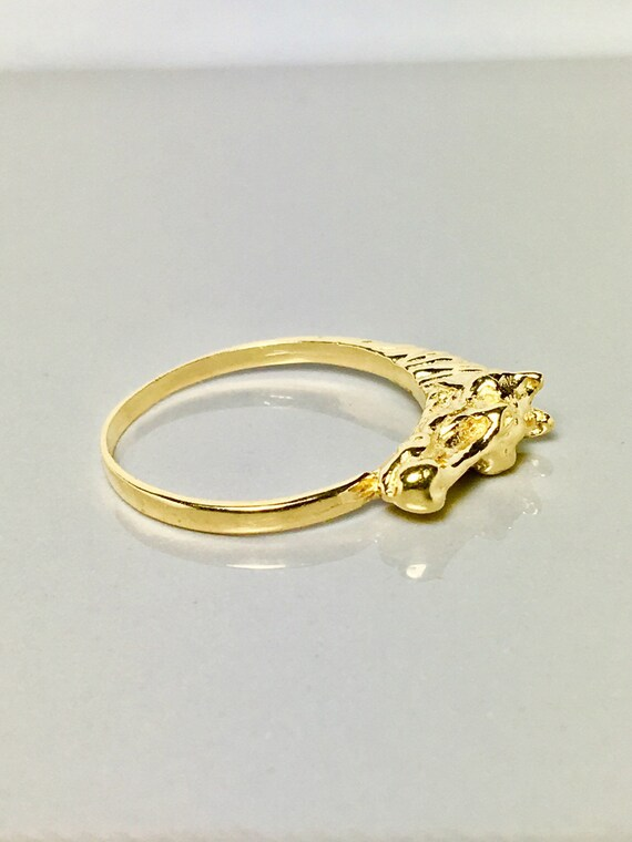 14k solid gold ring/ horse design gold ring/ thoro