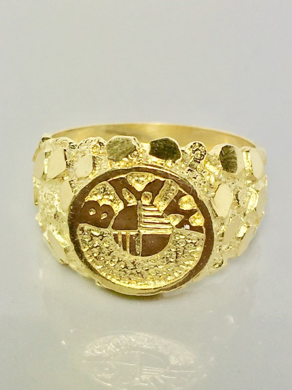 Solid gold nugget BMW ring 14k real solid gold ring coin face BMW design gold ring sturdy gold ring statement gold ring