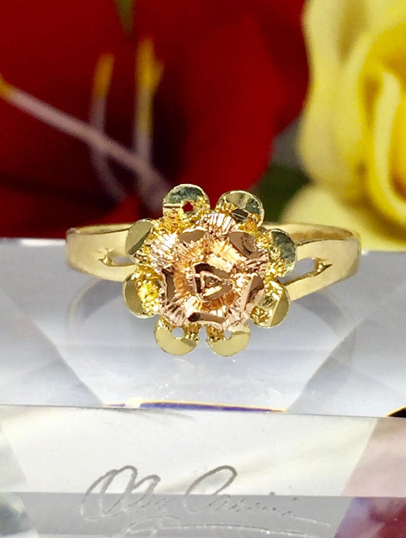 Rose Flower Ring 14K Solid Yellow Gold Two Tone
