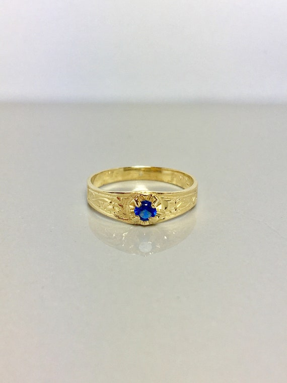 14k Solid Gold Baby Rings - Gold Sapphire Baby Rin