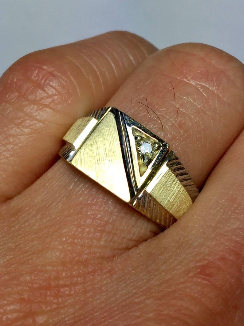 14k Solid Gold Men Signet Ring Men S Gold Pinky Ring Etsy