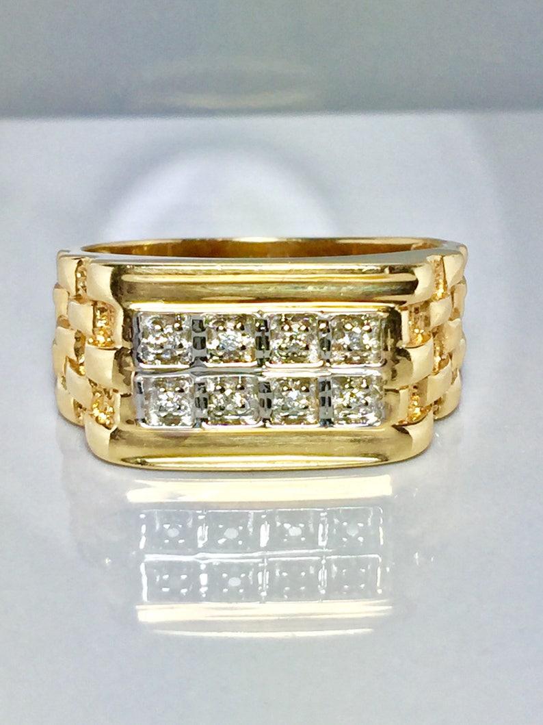 bc2b1374d0e1f 14k Gold Men Rolex Ring - Men Pinky Ring - Men Diamond Ring - Cool Men Ring  - Hipster Ring - Vintage Men Ring