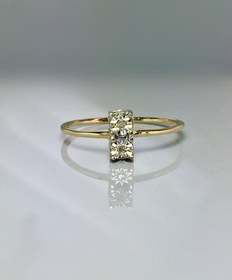 10k Solid Gold Ladies Diamond Ring Girls Gold Ring Etsy