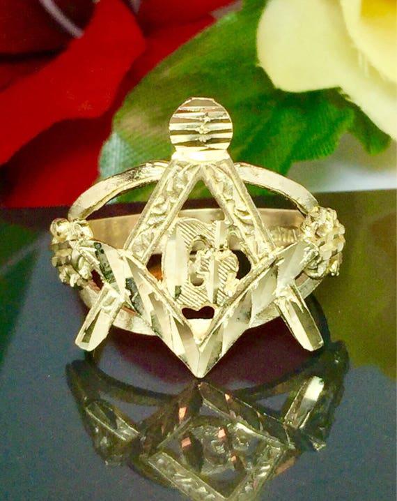 10k solid gold Men Masonic ring - Gold Rings for Men - Free Mason Ring -  Men Pinky Ring