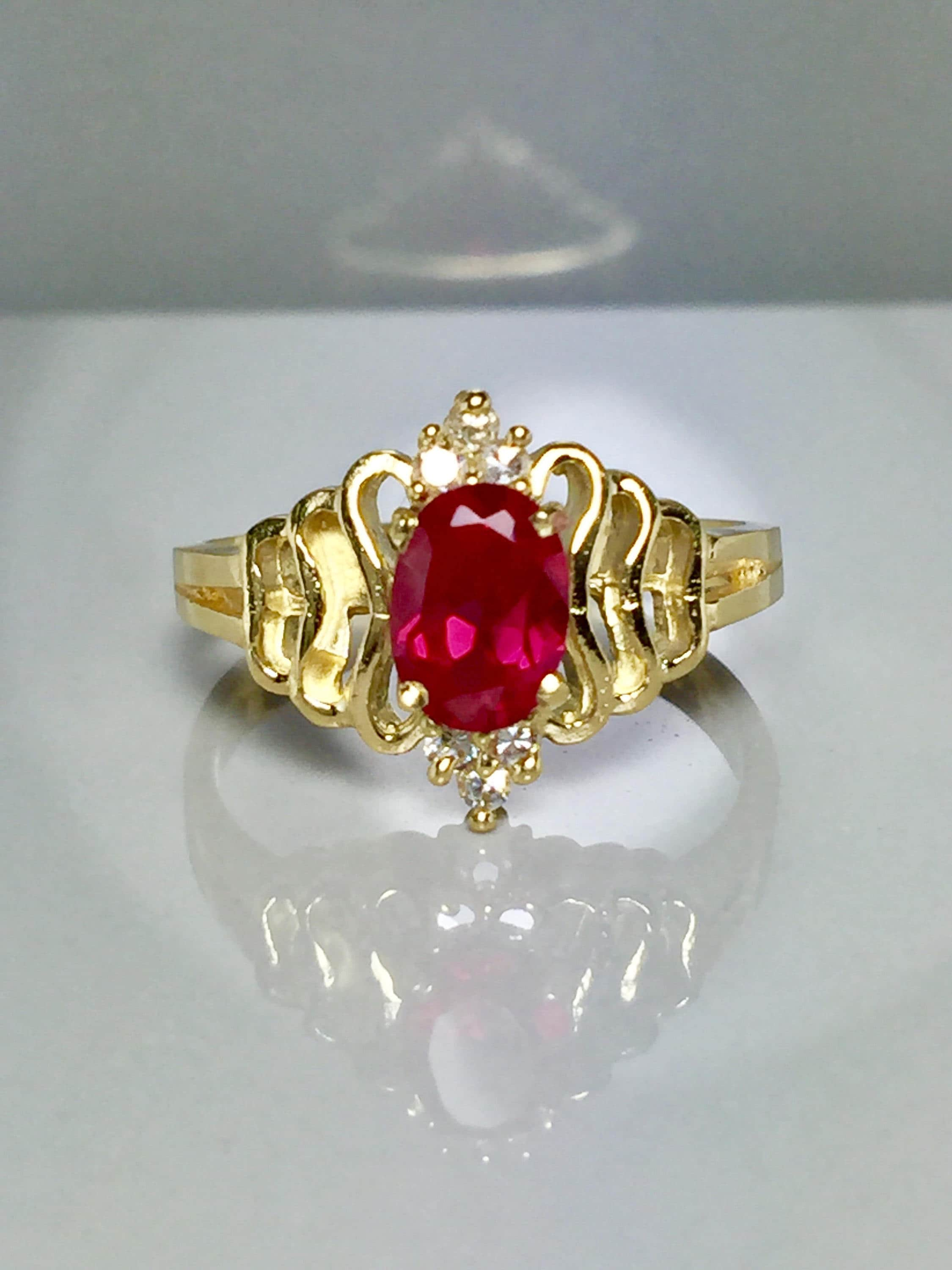 6ef3d986b9f74c Vintage 14k Solid Gold Ladies Ruby Ring Ladies Multi Stone | Etsy