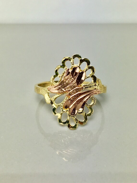 Filagree gold ring/ rose gold ring/ teardrops gold