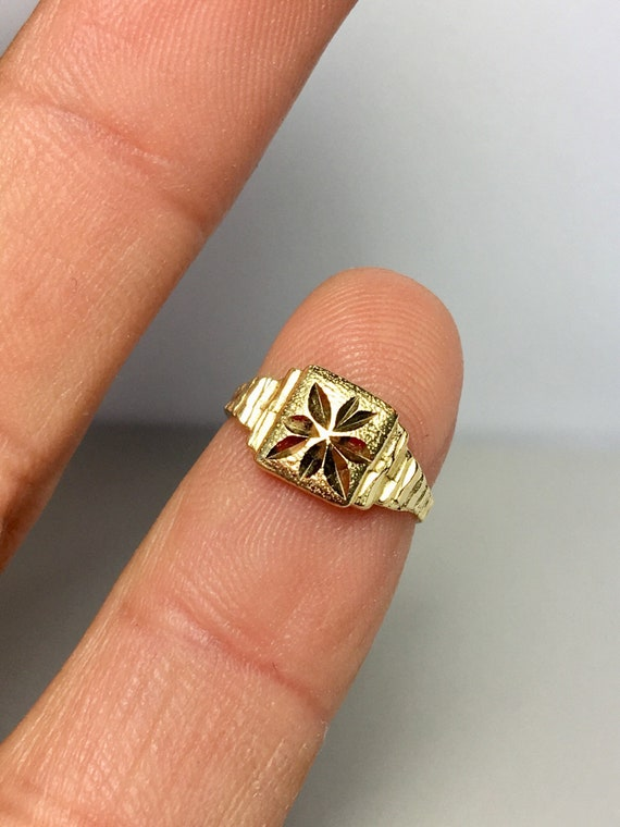14k Solid Gold Baby Ring - Baby Diamond Cut Ring -